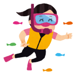 屋久島の海で、静のマリンスポーツ?シュノーケリング